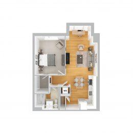 Bell Olmsted Park one bedroom one bathroom floor plan