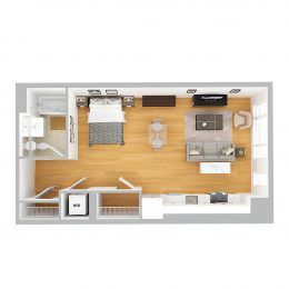 Bell Olmsted Park studio one bathroom floor plan