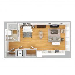 Bell Olmsted Park studio one bathroom floor plan